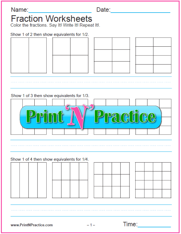 Printable Equivalent Fraction Worksheets For Kids: Show the equivalence.