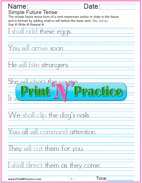 5 Worksheets for Simple Future Tense: Easy Sentences In English