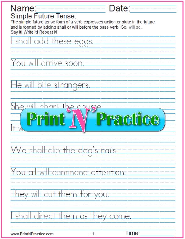 Future Tense English: Manuscript Simple Future Tense Worksheets