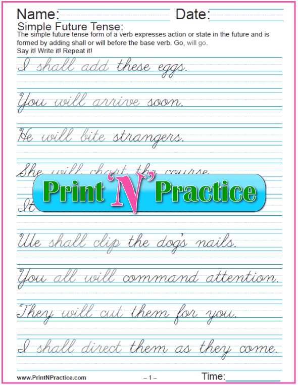 Easy Sentences In English: Simple Future Tense Sentences 5 Pages Cursive Writing