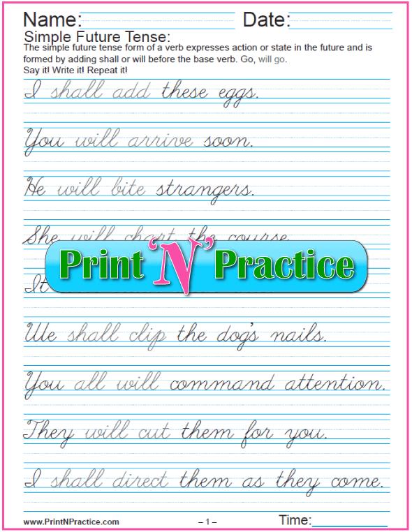 Future Tense English: Cursive Simple Future Tense Worksheets
