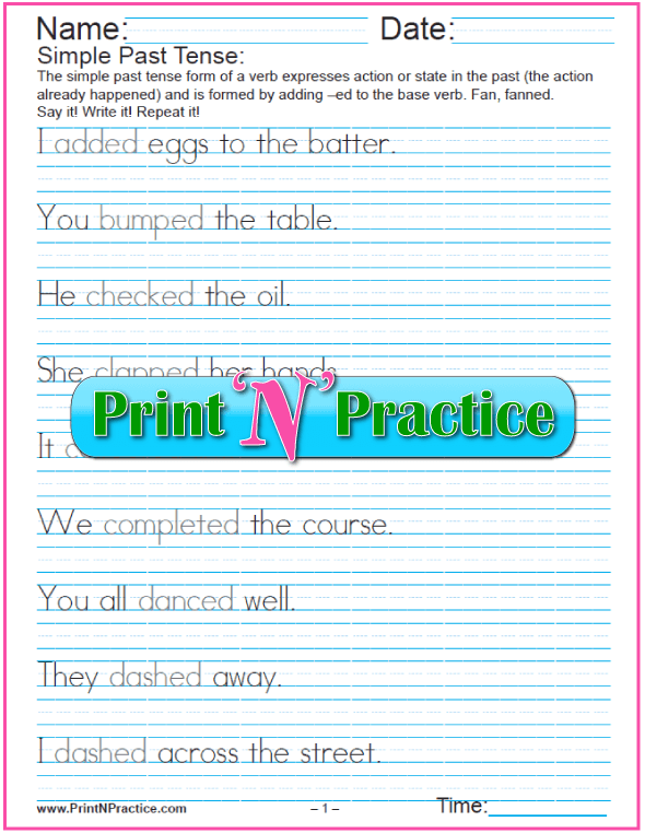 Past Tense Easy Sentences in English: 8 Worksheets