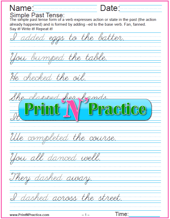 Cursive Past Tense Easy Sentences: 8 Worksheets