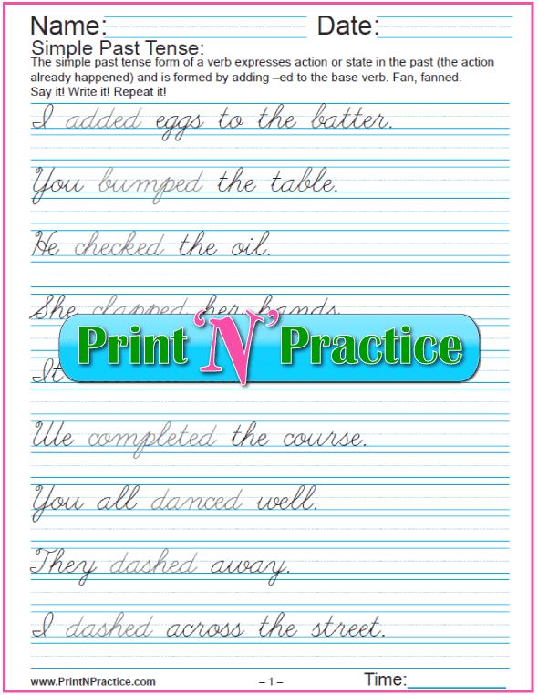 Verb Tenses Worksheets:  Past Simple Tense Sentences in Cursive Writing