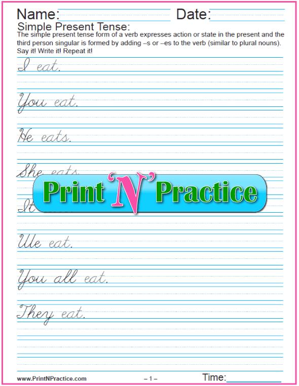 Printable Grammar Worksheets: Simple Present Tense Sentences 3 Pages in Cursive