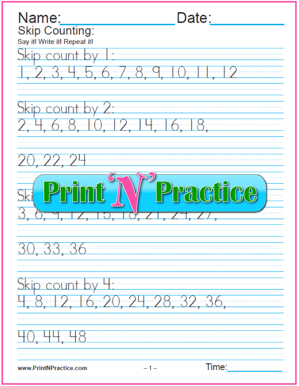 Four Skip Counting Worksheets To Print - Great for counting by 2s, 5s, and 10s.