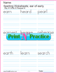 ear Words - Printable Phonics Worksheet