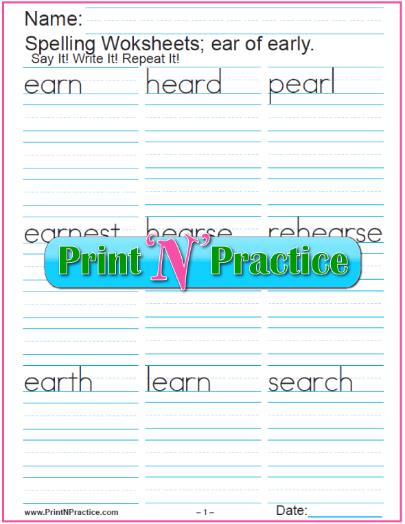 Printable Phonics EAR Trigraph Worksheet:  Check out https://www.printnpractice.com/phonics-worksheets.html Pin now to use later.