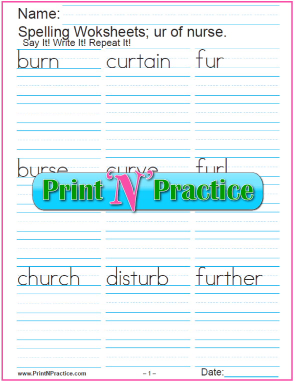 UR Words: Printable Phonics Worksheets   Check out http://www.printnpractice.com/ir-er-ur-words.html Pin now to use later!