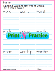 Phonics wor Words - Printable Phonics Worksheets.