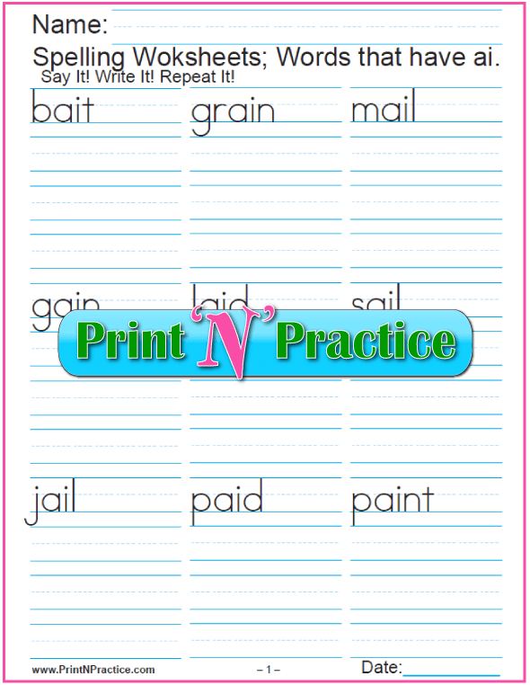 ai Words - Printable Phonics Worksheets
