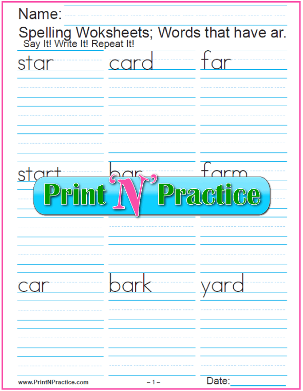 ar Words: 5 ar Phonics Worksheets