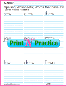 aw Words - Phonics au sound worksheets