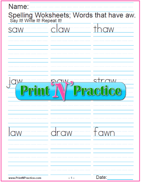 Printable AW Words Phonics Worksheets: Check out https://www.printnpractice.com/phonics-worksheets.html Pin now to use later.