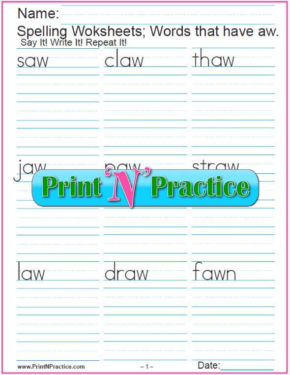 aw Words - Printable Phonics Worksheets