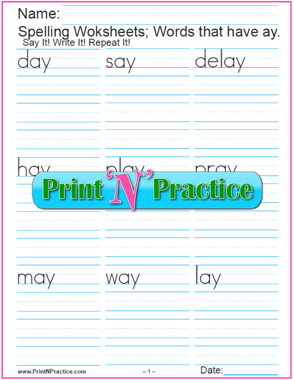 Printable Phonics AY Words Worksheets. Check out https://www.printnpractice.com/phonics-worksheets.html Pin now to use later. :-)