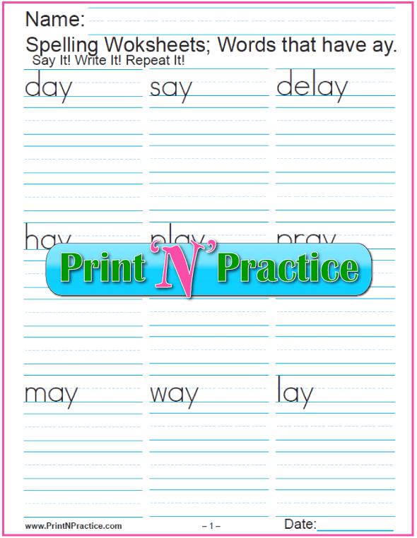 ay Words - Printable Phonics Worksheets