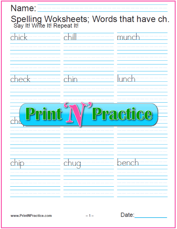 ch Words - Digraph Worksheets CH