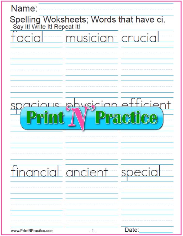 ci Words - Printable Phonics Worksheets