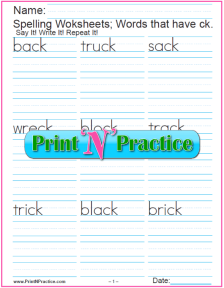 ck Words: Phonics Worksheets With Spelling Words To Copy