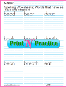 ea Words Phonics Worksheets