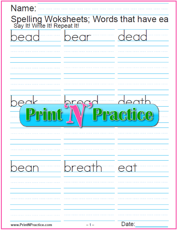 Ea Words 5 Free Phonics Worksheets