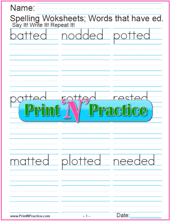 Past Tense ed Words Phonics Worksheets