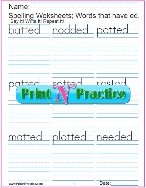 Past Tense ed Words - Printable Phonics Worksheets