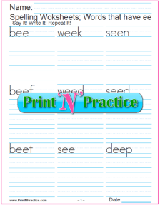 3 ee Words Phonics Worksheets
