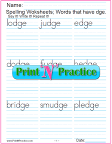 Phonics Worksheets DGE Words: Short vowel phonics worksheet for dge trigraph.