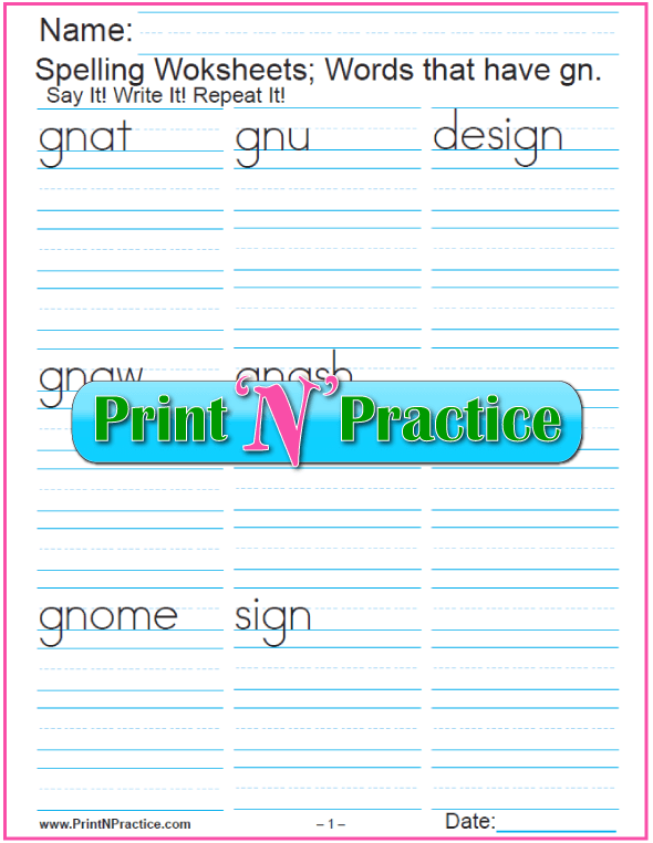 gn Words - Printable Phonics Worksheet, teaching consonant digraphs.
