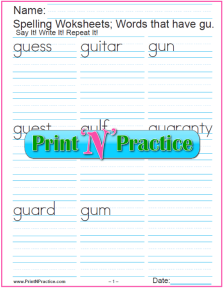 gu Words - Consonant Digraph Words Containing GU, Printable Phonics Worksheet.