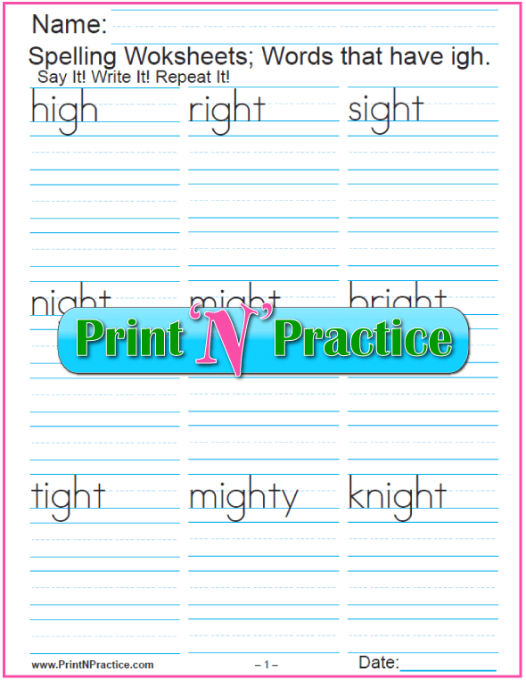 igh Words Phonics Worksheet