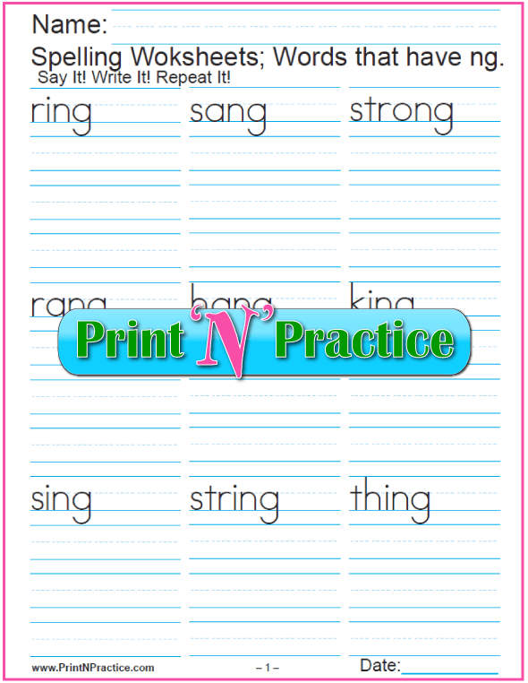 2 Consonant Digraph ng Words - Printable Phonics Worksheets