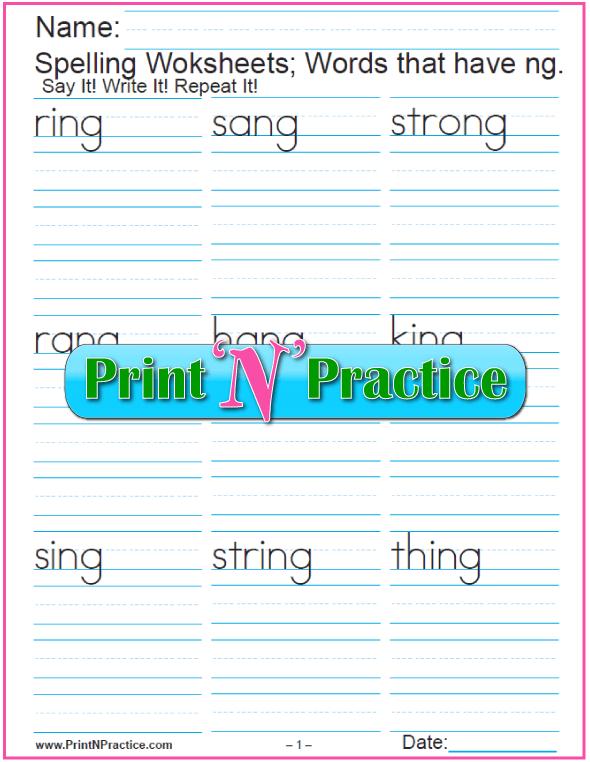 2 Consonant Digraph ng Words - Printable Phonics Worksheets