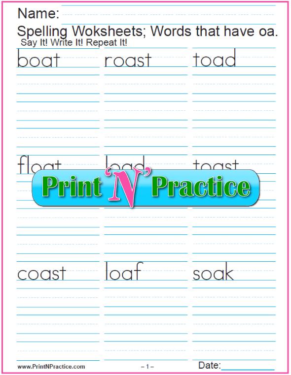 oa Words - Printable Phonics Worksheets