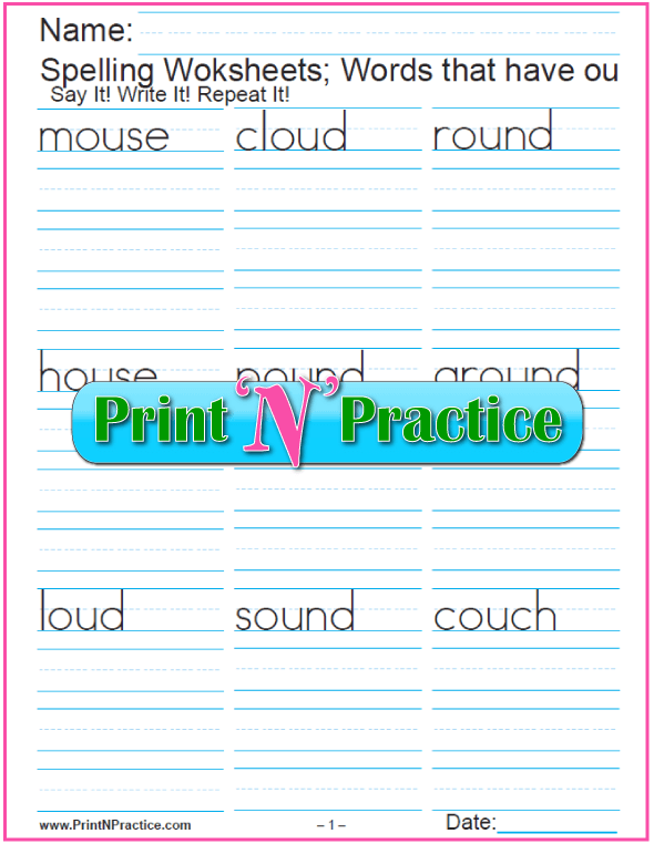 ou Words - Printable Phonics Worksheets