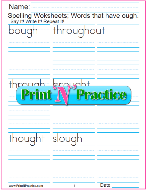 1 Phonics ough Words Worksheet