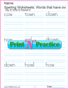 3 ow Words: OW Phonics Worksheets Vowel digraph