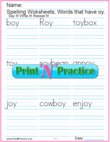 Phonogram oy Words - Printable Phonics Worksheets