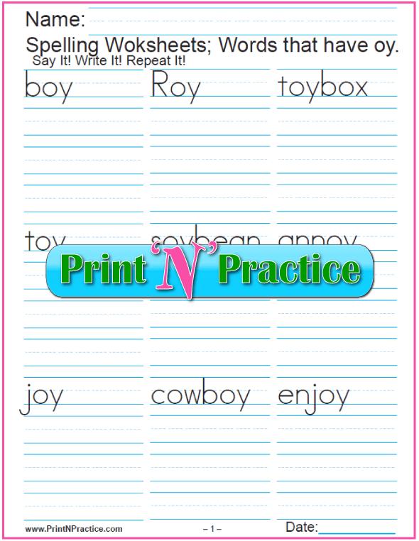 Phonogram oy Words - Printable Phonics Worksheets