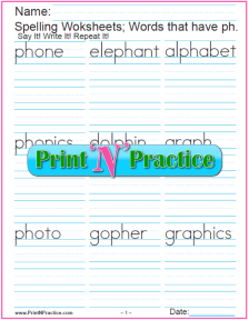 2 Consonant Digraph ph Words - Printable Phonics Worksheets