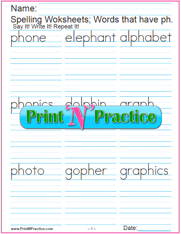 First Grade Language Arts Worksheets  Phonics Worksheets Practice Phonograms Copywork Rounding Decimal Places Worksheet Excel with Slope Of Line Worksheet Excel  Consonant Digraph Ph Words  Printable Phonics Worksheets Addition Subtraction And Multiplication Worksheets Word