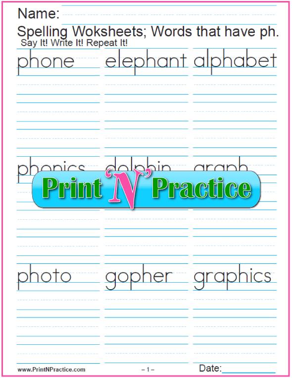 2 Consonant Digraph ph Words - Printable Phonics Worksheets