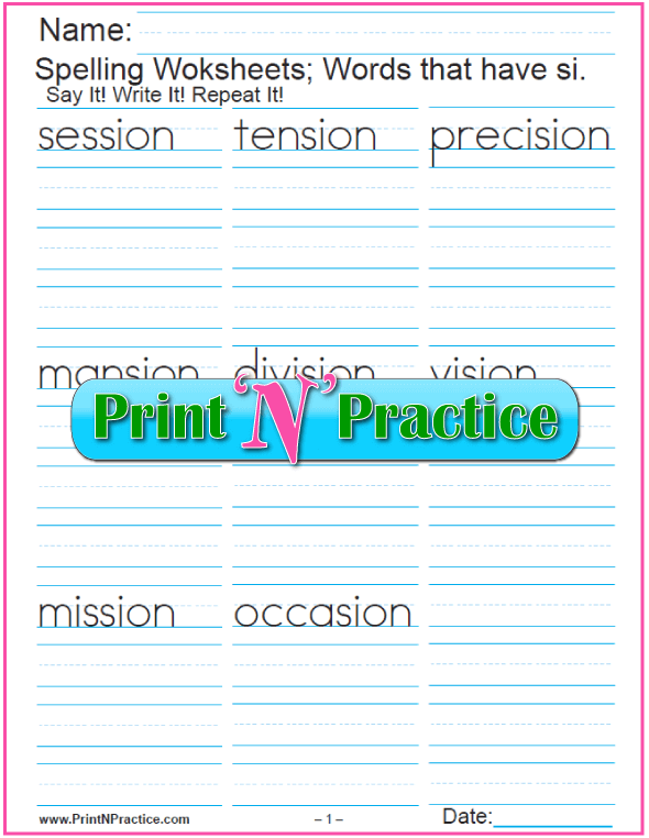 Base sion Words si Words Printable Phonics Worksheets