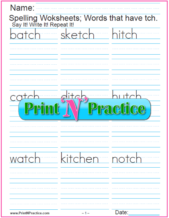 TCH Trigraph Worksheet
