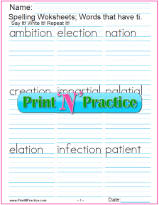 3 Words Ending In tion Printable Phonics Worksheets, Consonant Digraph ti words