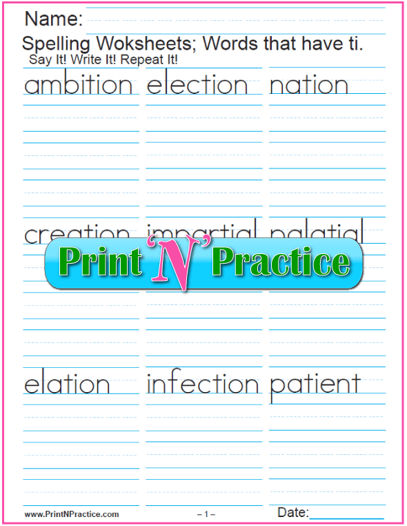 3 Ti And Tion Words Phonics Worksheets