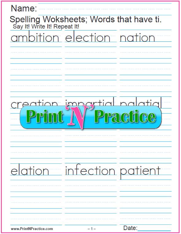 Consonant Digraph ti Words - Printable Phonics Worksheets
