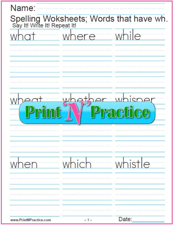 WH-Word List - Phonics Worksheets - Words that start with wh - Digraph Worksheets